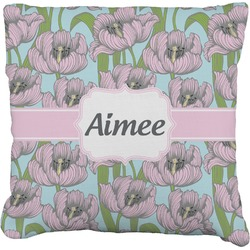 Wild Tulips Faux-Linen Throw Pillow (Personalized)