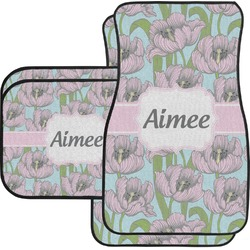 Wild Tulips Car Floor Mats Set - 2 Front & 2 Back (Personalized)