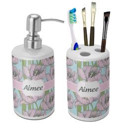 Wild Tulips Bathroom Accessories Set (Ceramic) (Personalized)