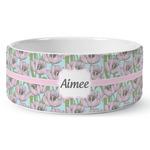 Wild Tulips Ceramic Dog Bowl (Personalized)