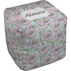 Wild Tulips Cube Pouf Ottoman (Personalized)