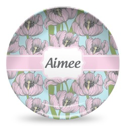 Wild Tulips Microwave Safe Plastic Plate - Composite Polymer (Personalized)