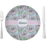 "Wild Tulips Glass Lunch / Dinner Plates 10"" - Single or Set (Personalized)"