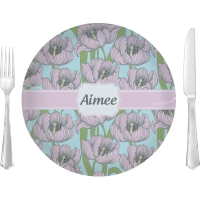 """Wild Tulips 10"""" Glass Lunch / Dinner Plates - Single or Set (Personalized)"""