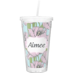 Wild Tulips Double Wall Tumbler with Straw (Personalized)