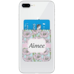 Wild Tulips Genuine Leather Adhesive Phone Wallet (Personalized)