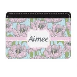 Wild Tulips Genuine Leather Front Pocket Wallet (Personalized)