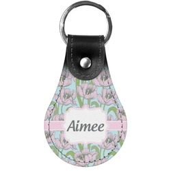 Wild Tulips Genuine Leather  Keychain (Personalized)