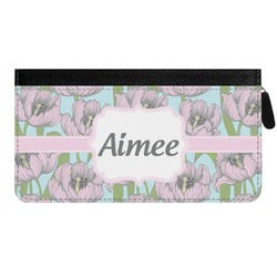Wild Tulips Genuine Leather Ladies Zippered Wallet (Personalized)