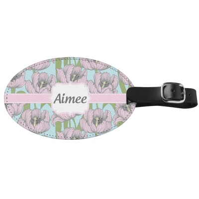 Wild Tulips Genuine Leather Oval Luggage Tag (Personalized)