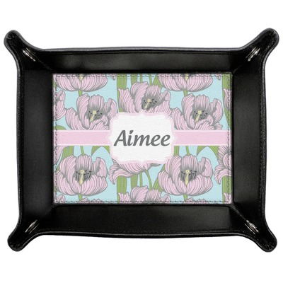 Wild Tulips Genuine Leather Valet Tray (Personalized)