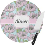Wild Tulips Round Glass Cutting Board (Personalized)