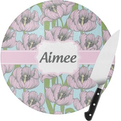 Wild Tulips Round Glass Cutting Board (Personalized)