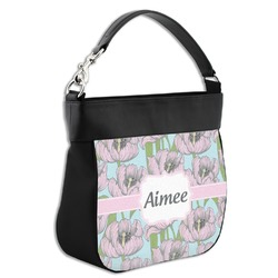 Wild Tulips Hobo Purse w/ Genuine Leather Trim (Personalized)