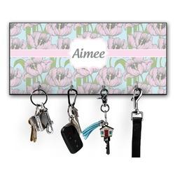 Wild Tulips Key Hanger w/ 4 Hooks w/ Name or Text