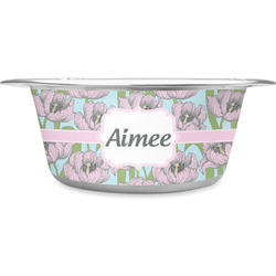 Wild Tulips Stainless Steel Dog Bowl (Personalized)