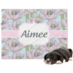 Wild Tulips Minky Dog Blanket - Large  (Personalized)