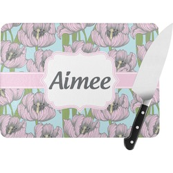 Wild Tulips Rectangular Glass Cutting Board (Personalized)