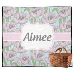 Wild Tulips Outdoor Picnic Blanket (Personalized)