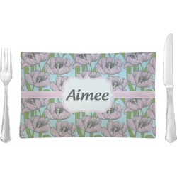 Wild Tulips Rectangular Glass Lunch / Dinner Plate - Single or Set (Personalized)