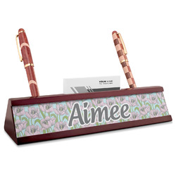 Wild Tulips Red Mahogany Nameplate with Business Card Holder (Personalized)