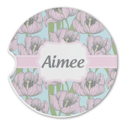 Wild Tulips Sandstone Car Coasters (Personalized)