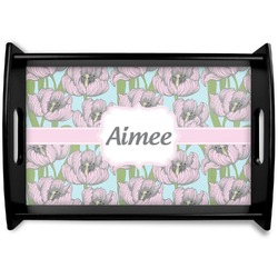 Wild Tulips Black Wooden Tray (Personalized)