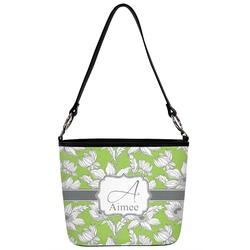 Wild Daisies Bucket Bag w/ Genuine Leather Trim (Personalized)