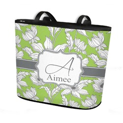 Wild Daisies Bucket Tote w/ Genuine Leather Trim (Personalized)