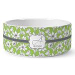 Wild Daisies Ceramic Dog Bowl (Personalized)