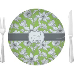 "Wild Daisies Glass Lunch / Dinner Plates 10"" - Single or Set (Personalized)"