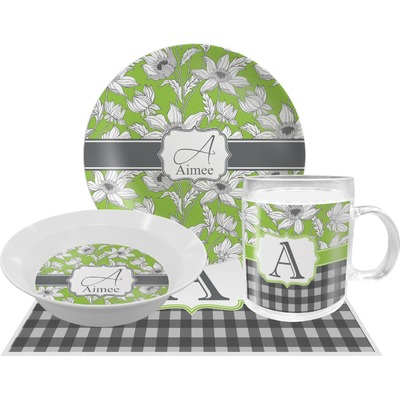 Wild Daisies Dinner Set - Single 4 Pc Setting w/ Name and Initial