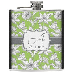 Wild Daisies Genuine Leather Flask (Personalized)