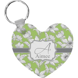 Wild Daisies Heart Plastic Keychain w/ Name and Initial