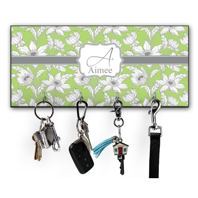 Wild Daisies Key Hanger w/ 4 Hooks w/ Name and Initial