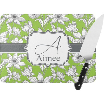 Wild Daisies Rectangular Glass Cutting Board (Personalized)