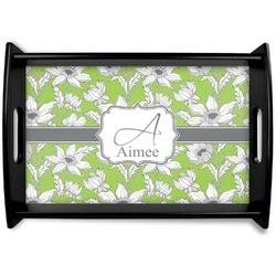Wild Daisies Black Wooden Tray (Personalized)