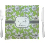 """Wild Daisies Glass Square Lunch / Dinner Plate 9.5"""" - Single or Set of 4 (Personalized)"""