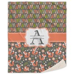 Fox Trail Floral Sherpa Throw Blanket (Personalized)