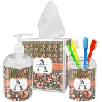 Fox Trail Floral Acrylic Bathroom Accessories Set w/ Name and Initial
