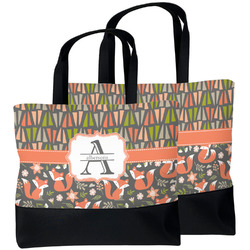 Fox Trail Floral Beach Tote Bag (Personalized)