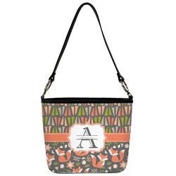 Fox Trail Floral Bucket Bag w/ Genuine Leather Trim (Personalized)
