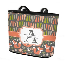 Fox Trail Floral Bucket Tote w/ Genuine Leather Trim (Personalized)