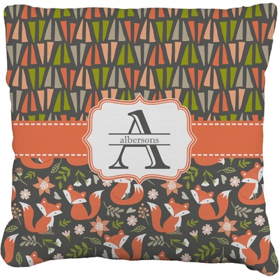Fox Trail Floral Faux-Linen Throw Pillow (Personalized)
