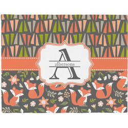 Fox Trail Floral Woven Fabric Placemat - Twill w/ Name and Initial