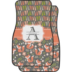 Fox Trail Floral Car Floor Mats (Front Seat) (Personalized)