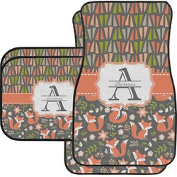 Fox Trail Floral Car Floor Mats Set - 2 Front & 2 Back (Personalized)