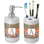 Fox Trail Floral Bathroom Accessories Set (Ceramic) (Personalized)