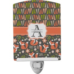 Fox Trail Floral Ceramic Night Light (Personalized)