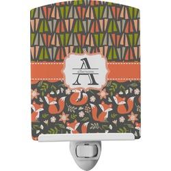 Fox Trail Floral Ceramic Night Light (Personalized)